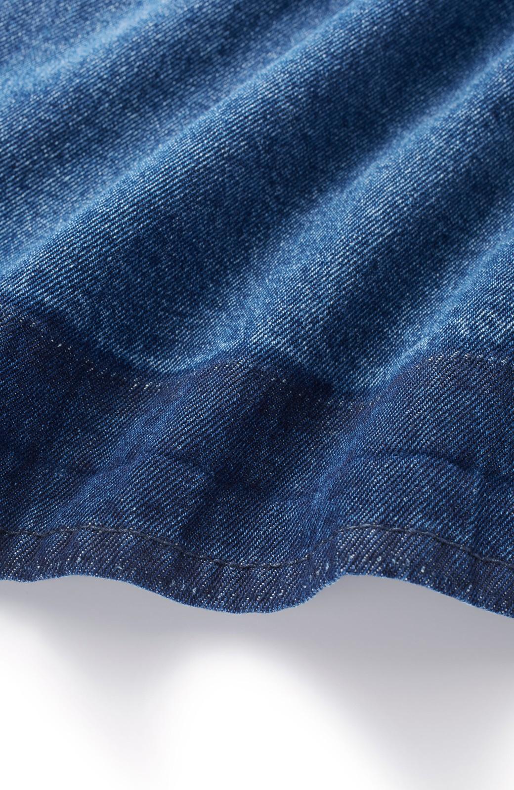 nusy 裾配色のミモレ丈デニムスカート <インディゴブルー>の商品写真2