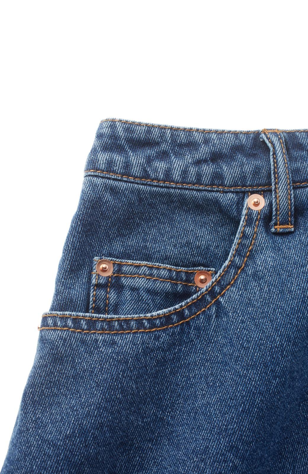 nusy 裾配色のミモレ丈デニムスカート <インディゴブルー>の商品写真3