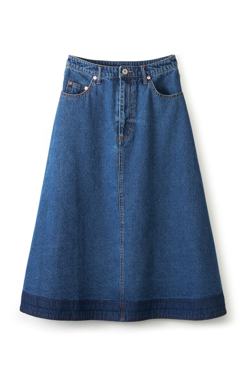 nusy 裾配色のミモレ丈デニムスカート <インディゴブルー>の商品写真1