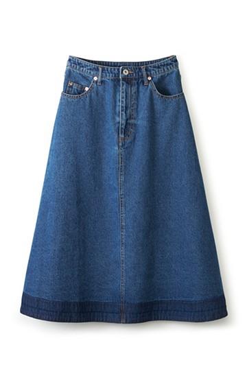 nusy 裾配色のミモレ丈デニムスカート <インディゴブルー>の商品写真