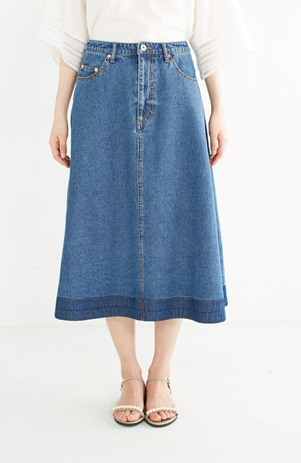 nusy 裾配色のミモレ丈デニムスカート <インディゴブルー>の商品写真10
