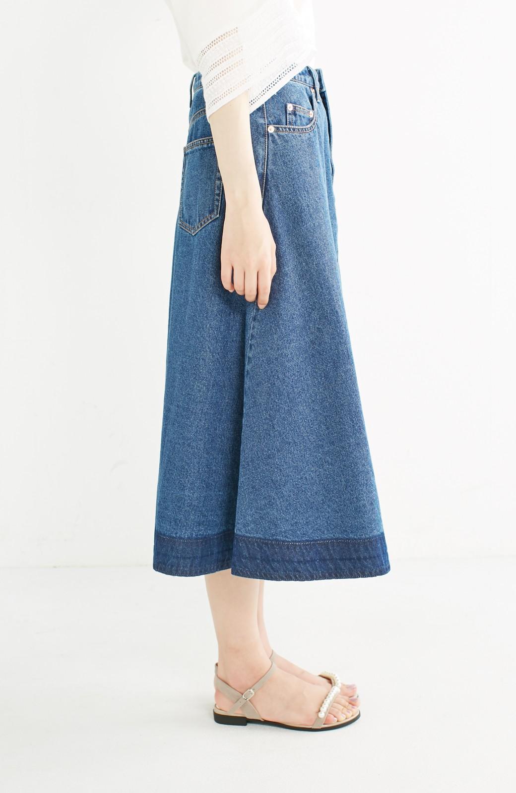 nusy 裾配色のミモレ丈デニムスカート <インディゴブルー>の商品写真11