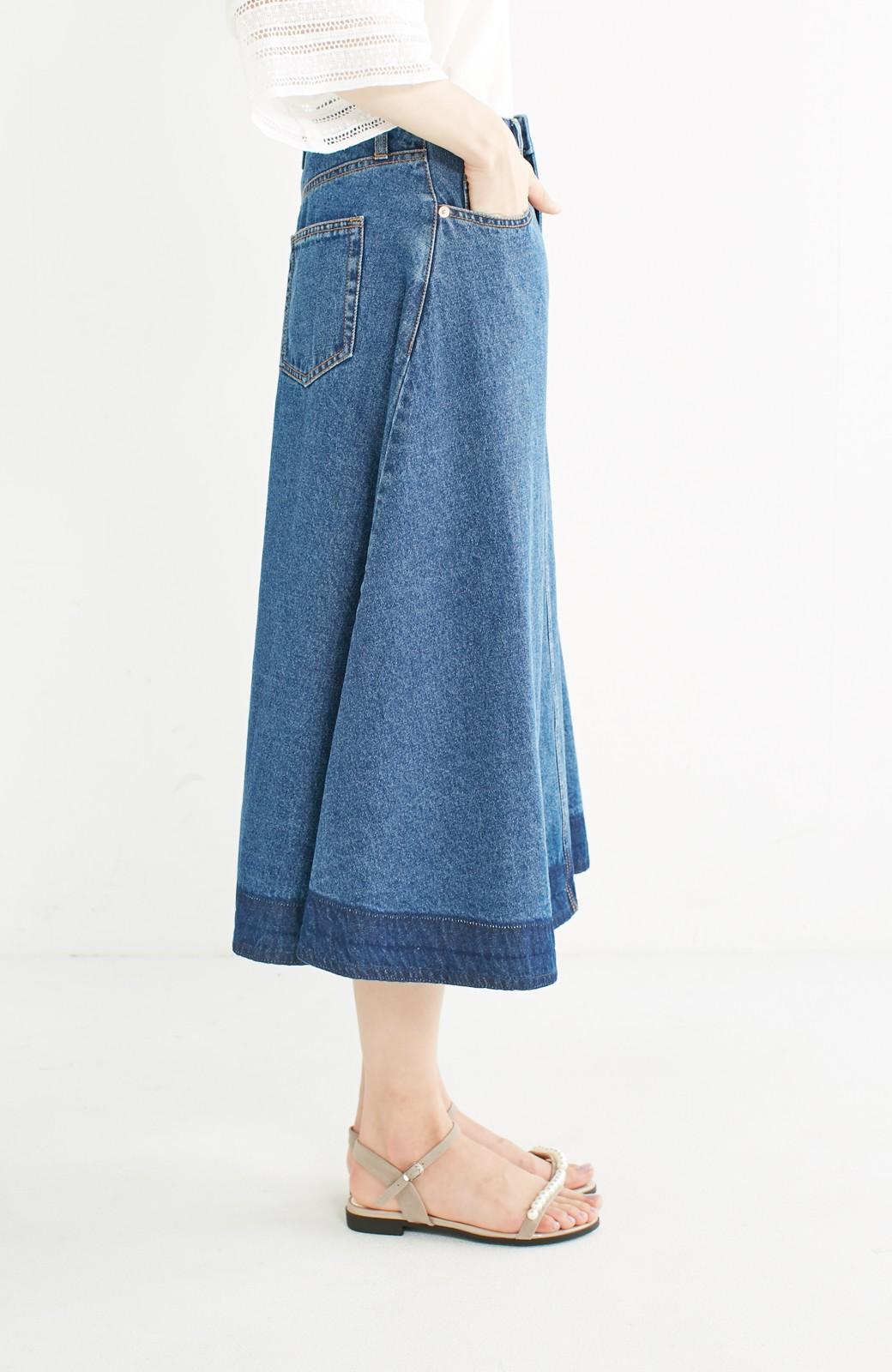 nusy 裾配色のミモレ丈デニムスカート <インディゴブルー>の商品写真12