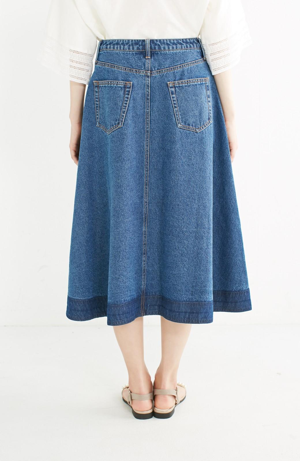 nusy 裾配色のミモレ丈デニムスカート <インディゴブルー>の商品写真13