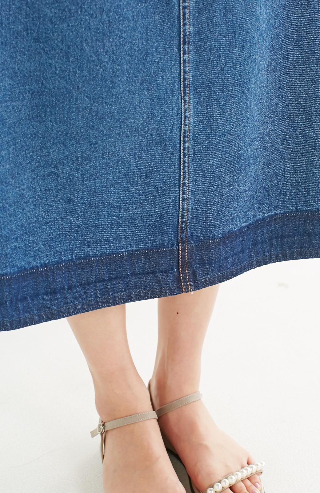 nusy 裾配色のミモレ丈デニムスカート <インディゴブルー>の商品写真14