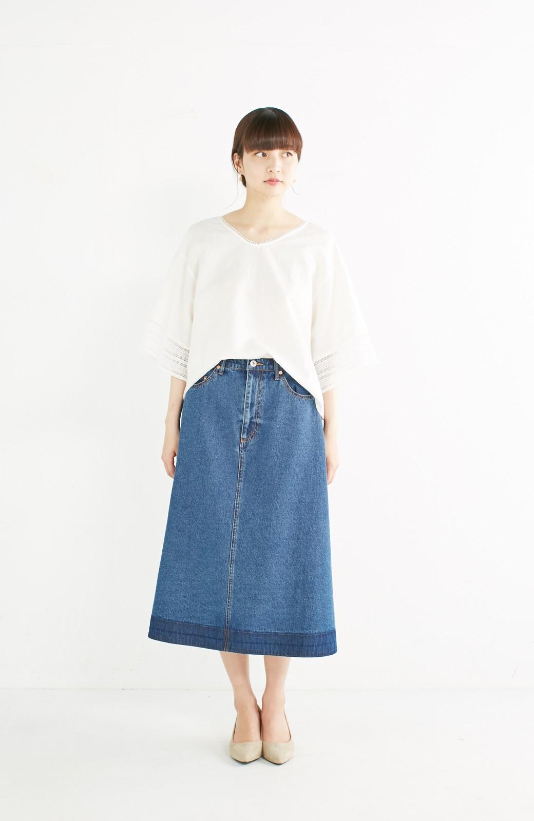 nusy 裾配色のミモレ丈デニムスカート <インディゴブルー>の商品写真4