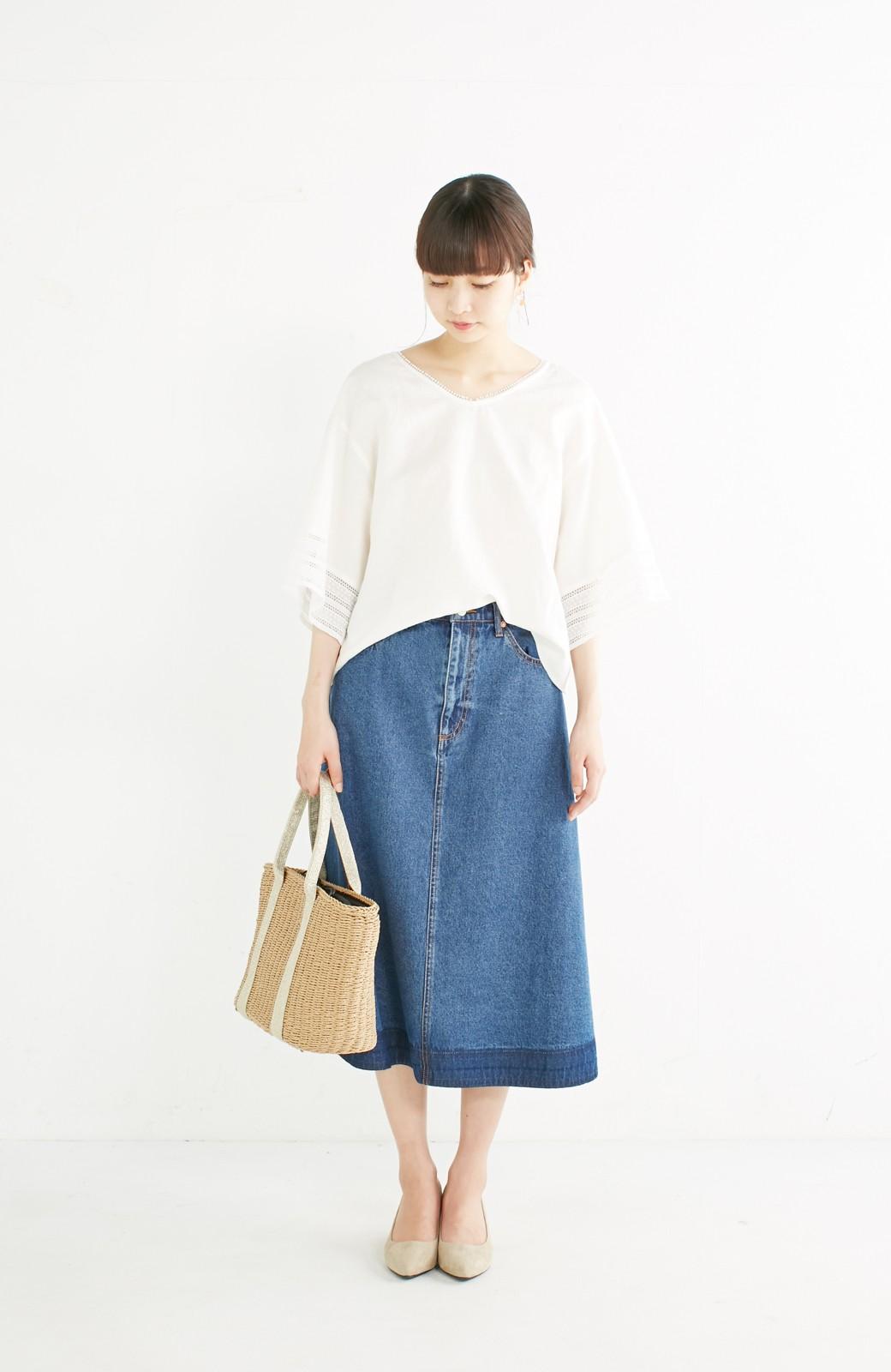 nusy 裾配色のミモレ丈デニムスカート <インディゴブルー>の商品写真6