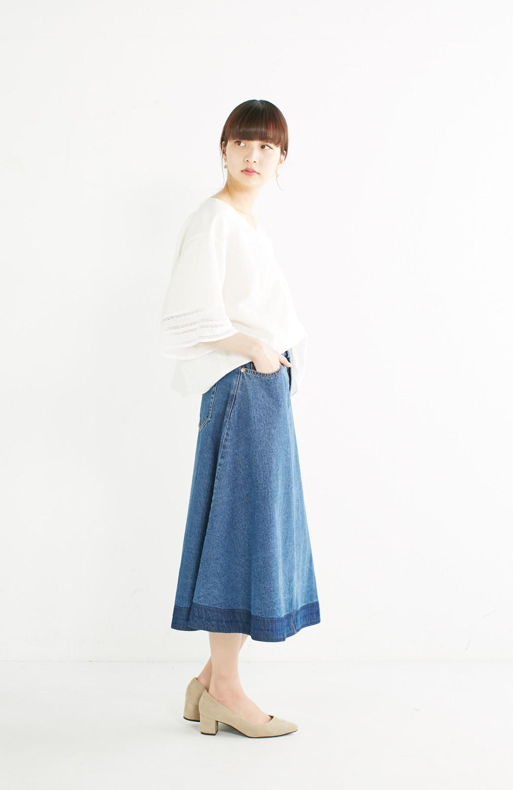nusy 裾配色のミモレ丈デニムスカート <インディゴブルー>の商品写真8