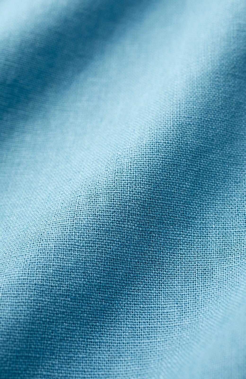 nusy 綿麻素材のウエストリボン付き2WAYトップス <ブルーグリーン>の商品写真2