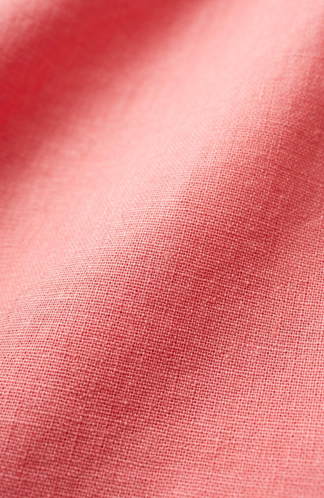 nusy 綿麻素材のウエストリボン付き2WAYトップス <サーモンピンク>の商品写真2