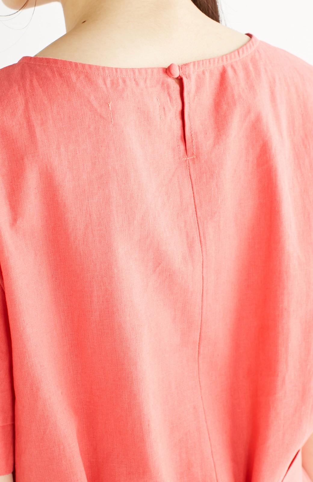 nusy 綿麻素材のウエストリボン付き2WAYトップス <サーモンピンク>の商品写真17