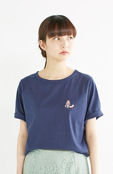 nusy USAコットン刺しゅうがかわいい女のコTシャツ <ネイビー>の商品写真