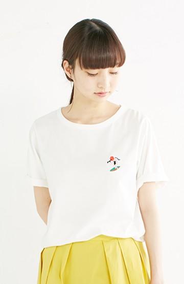 nusy USAコットン刺しゅうがかわいい女のコTシャツ <ホワイト>の商品写真