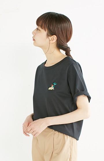 nusy USAコットン刺しゅうがかわいい女のコTシャツ <ブラック>の商品写真