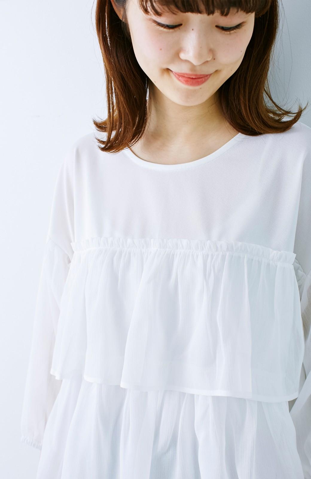 エムトロワ さらっと着られて女子気分があがる 異素材づかいのフリルトップス <ホワイト>の商品写真15
