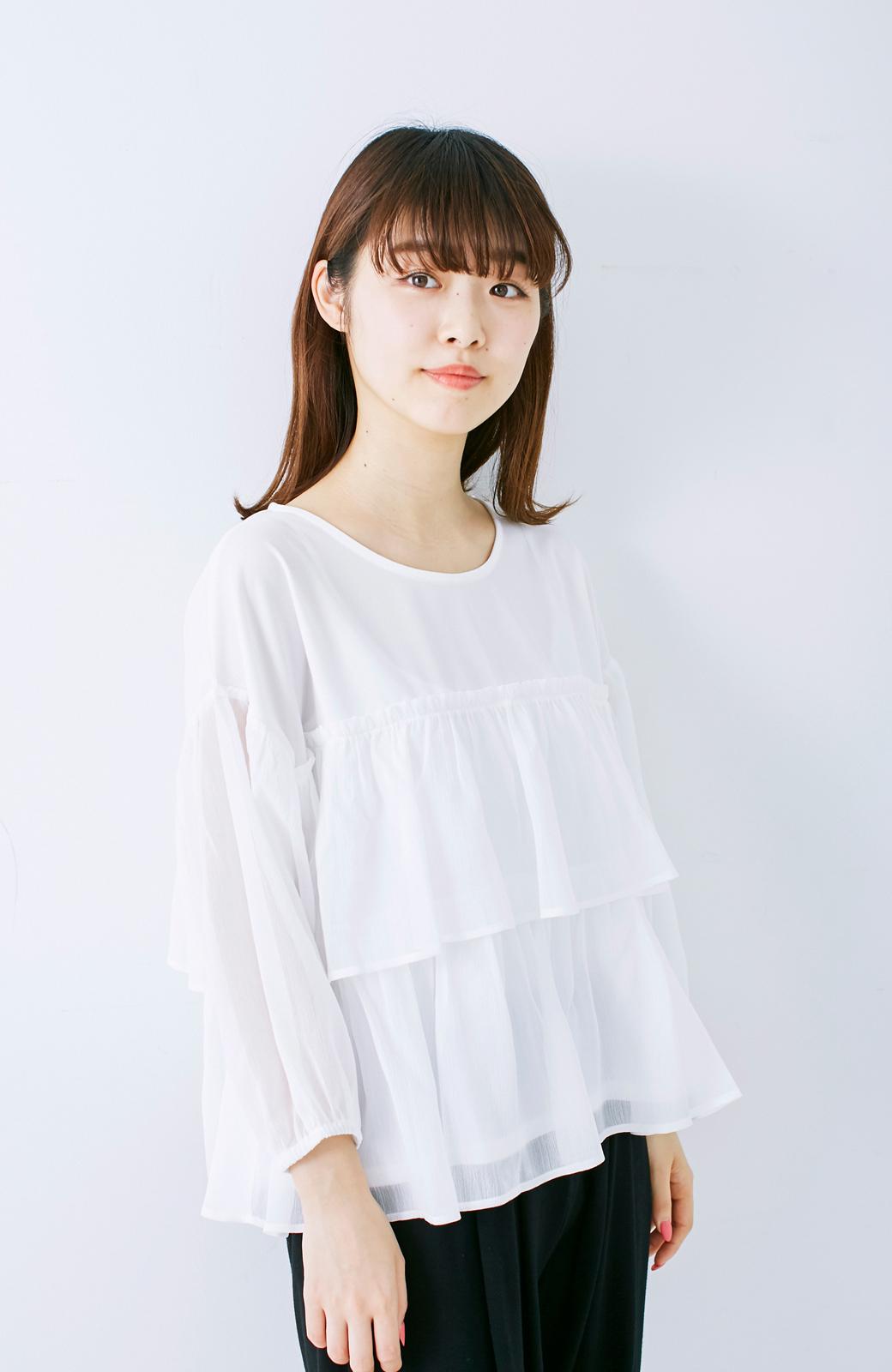 エムトロワ さらっと着られて女子気分があがる 異素材づかいのフリルトップス <ホワイト>の商品写真11