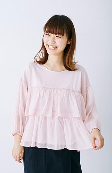 エムトロワ さらっと着られて女子気分があがる 異素材づかいのフリルトップス <ライトピンク>の商品写真