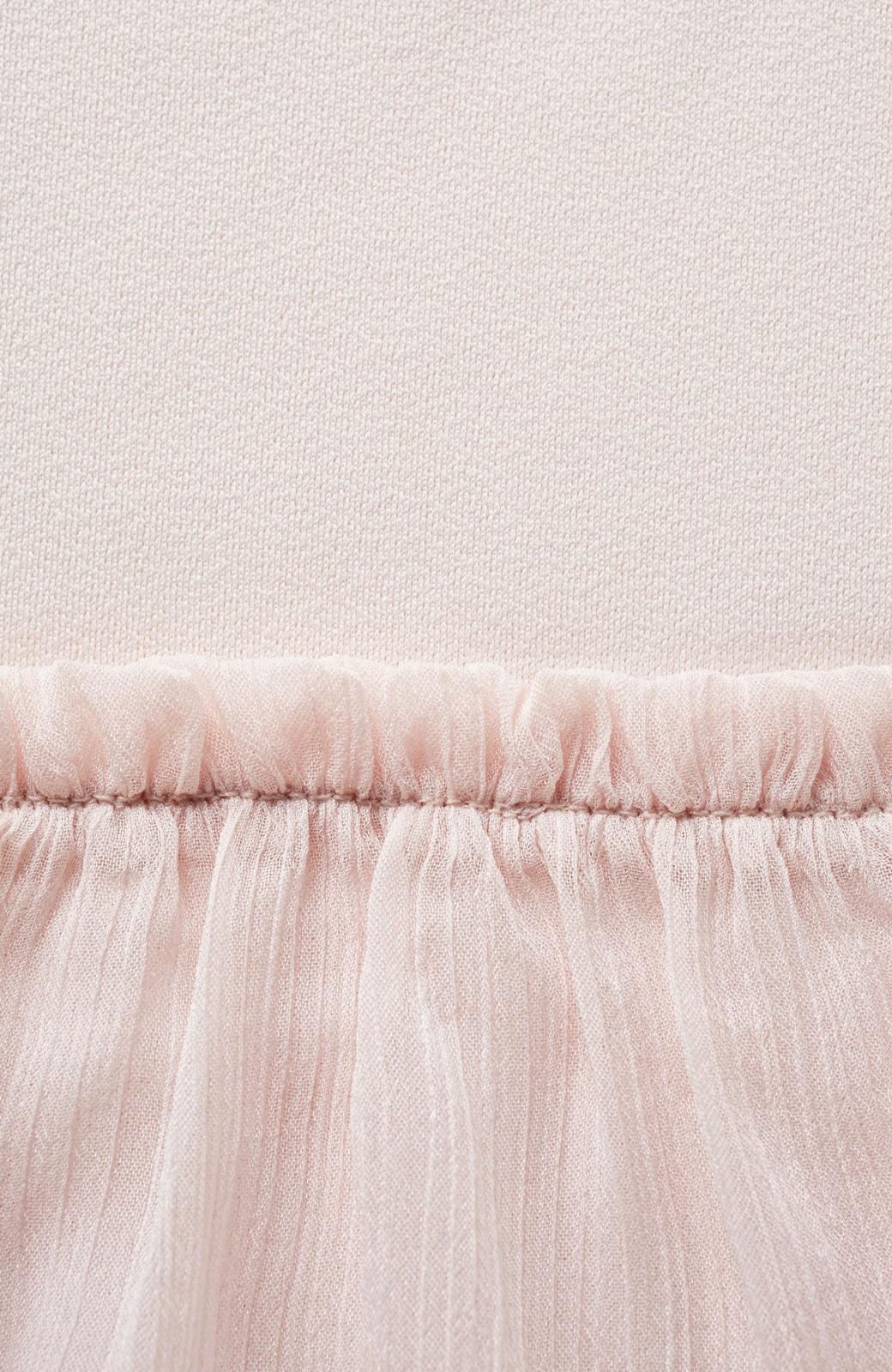 エムトロワ さらっと着られて女子気分があがる 異素材づかいのフリルトップス <ライトピンク>の商品写真3