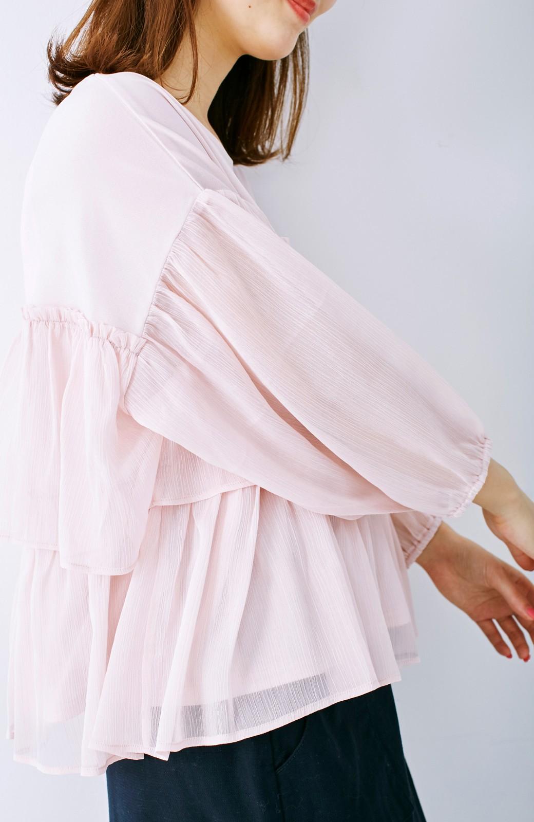 エムトロワ さらっと着られて女子気分があがる 異素材づかいのフリルトップス <ライトピンク>の商品写真13