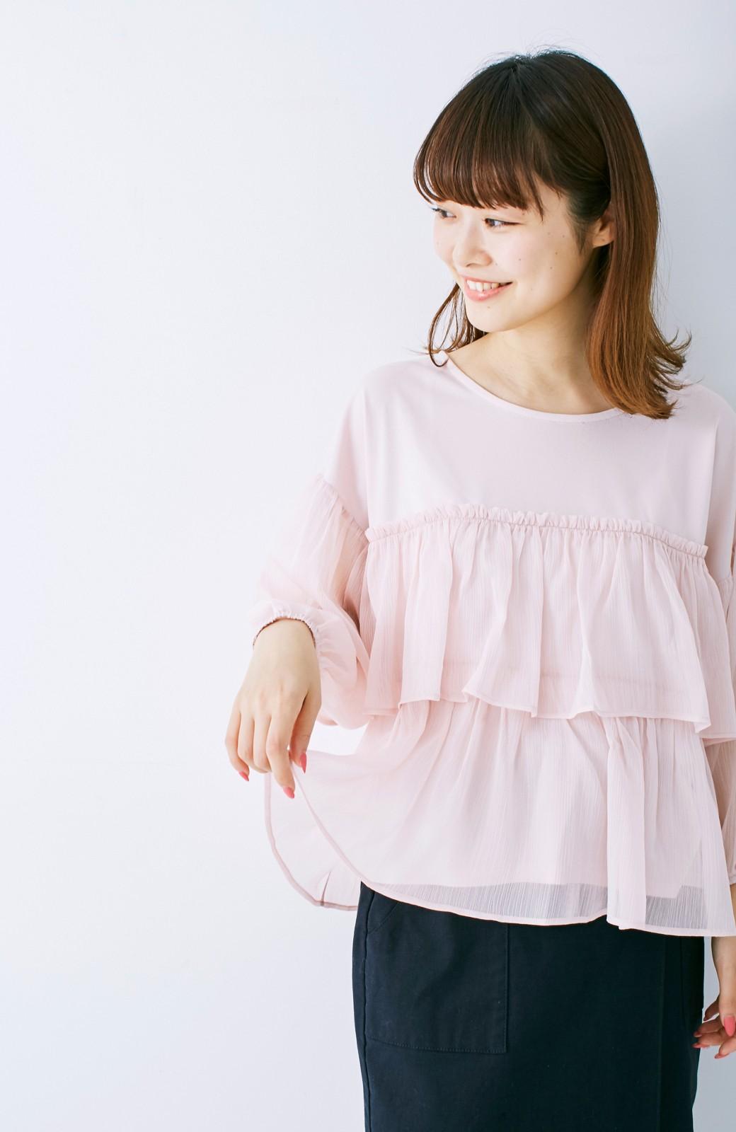 エムトロワ さらっと着られて女子気分があがる 異素材づかいのフリルトップス <ライトピンク>の商品写真10