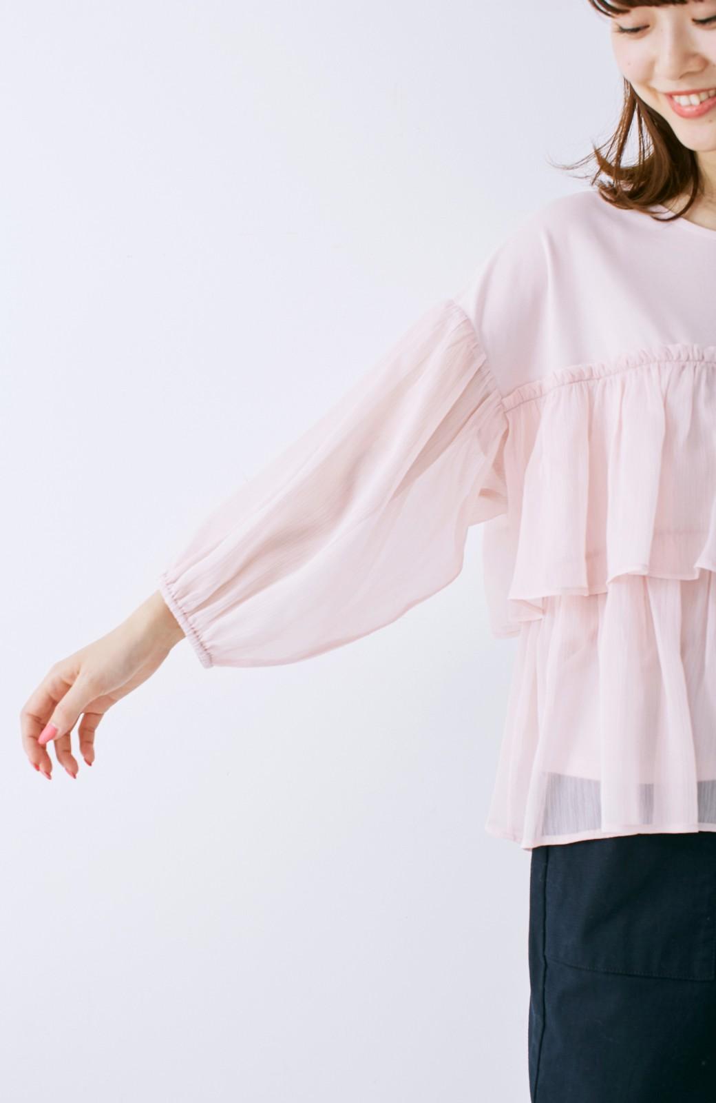 エムトロワ さらっと着られて女子気分があがる 異素材づかいのフリルトップス <ライトピンク>の商品写真12