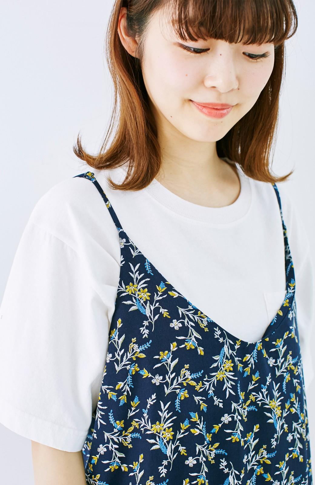 エムトロワ 裾ギャザーフリルのフラワーキャミワンピース <ネイビー>の商品写真5