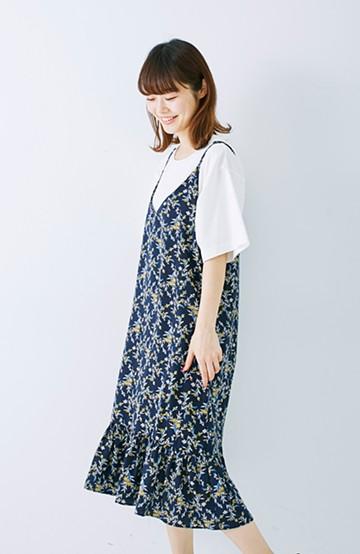 エムトロワ 裾ギャザーフリルのフラワーキャミワンピース <ネイビー>の商品写真