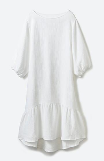 nusy すぽっと着られて着心地さわやか ぽんわり袖ガーゼワンピース <ホワイト>の商品写真