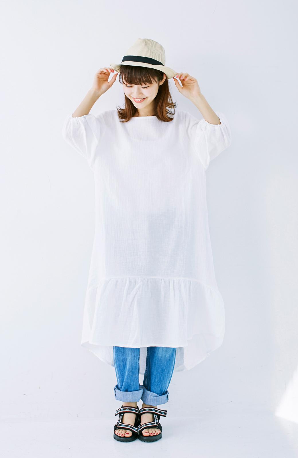 nusy すぽっと着られて着心地さわやか ぽんわり袖ガーゼワンピース <ホワイト>の商品写真11