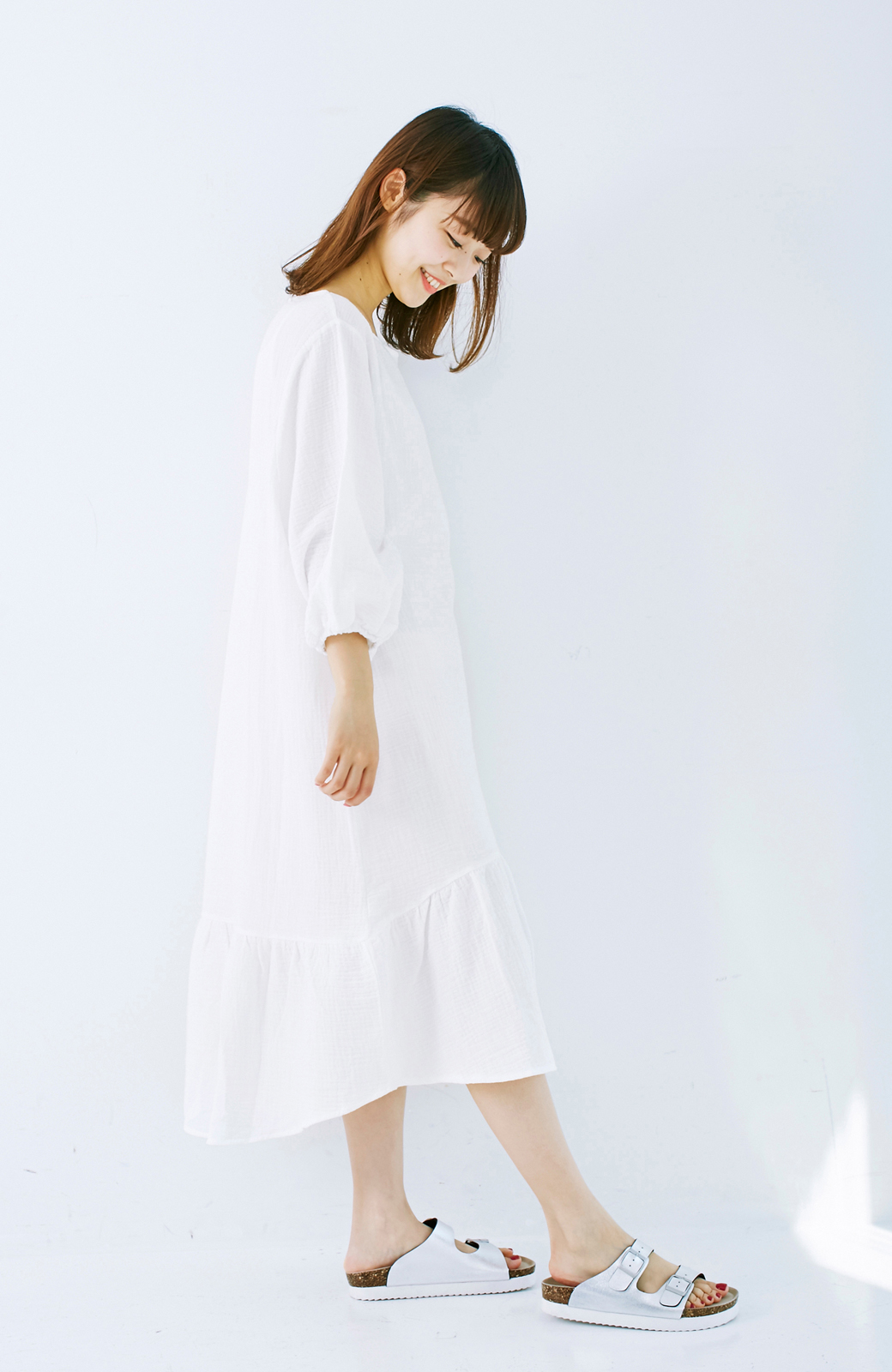 nusy すぽっと着られて着心地さわやか ぽんわり袖ガーゼワンピース <ホワイト>の商品写真13