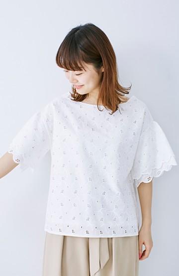 エムトロワ Tシャツ感覚で着られる フラワーレースのティアードスリーブトップス <ホワイト>の商品写真