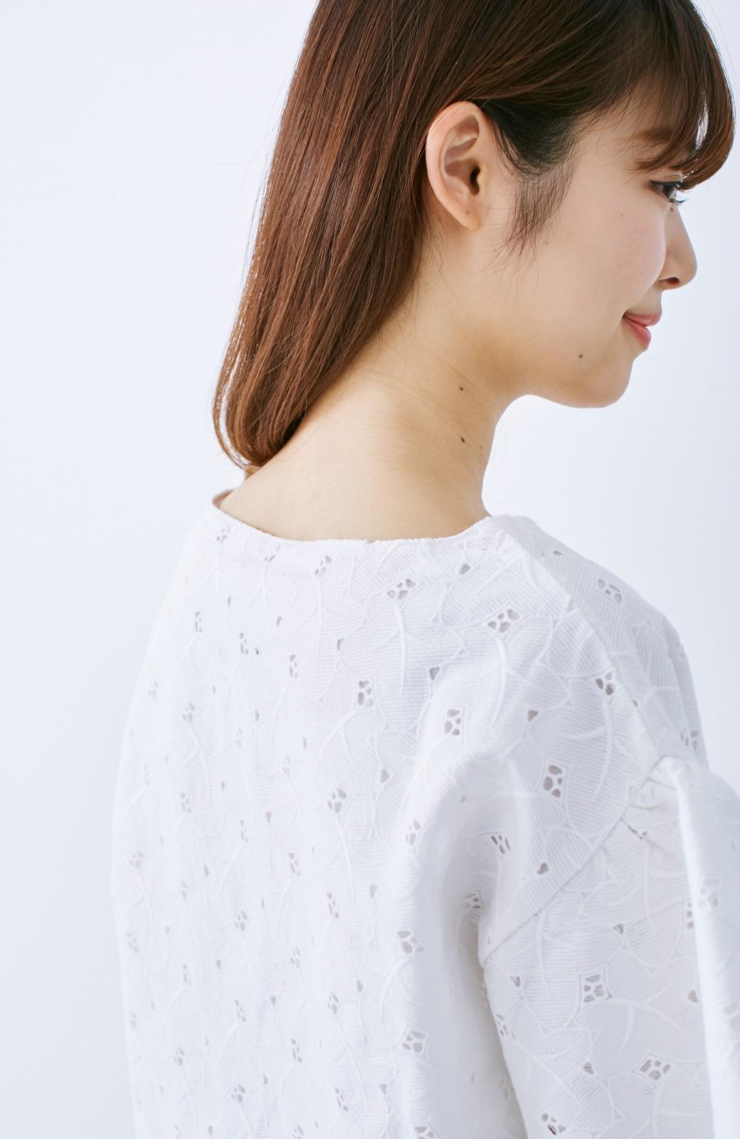 エムトロワ Tシャツ感覚で着られる フラワーレースのティアードスリーブトップス <ホワイト>の商品写真13
