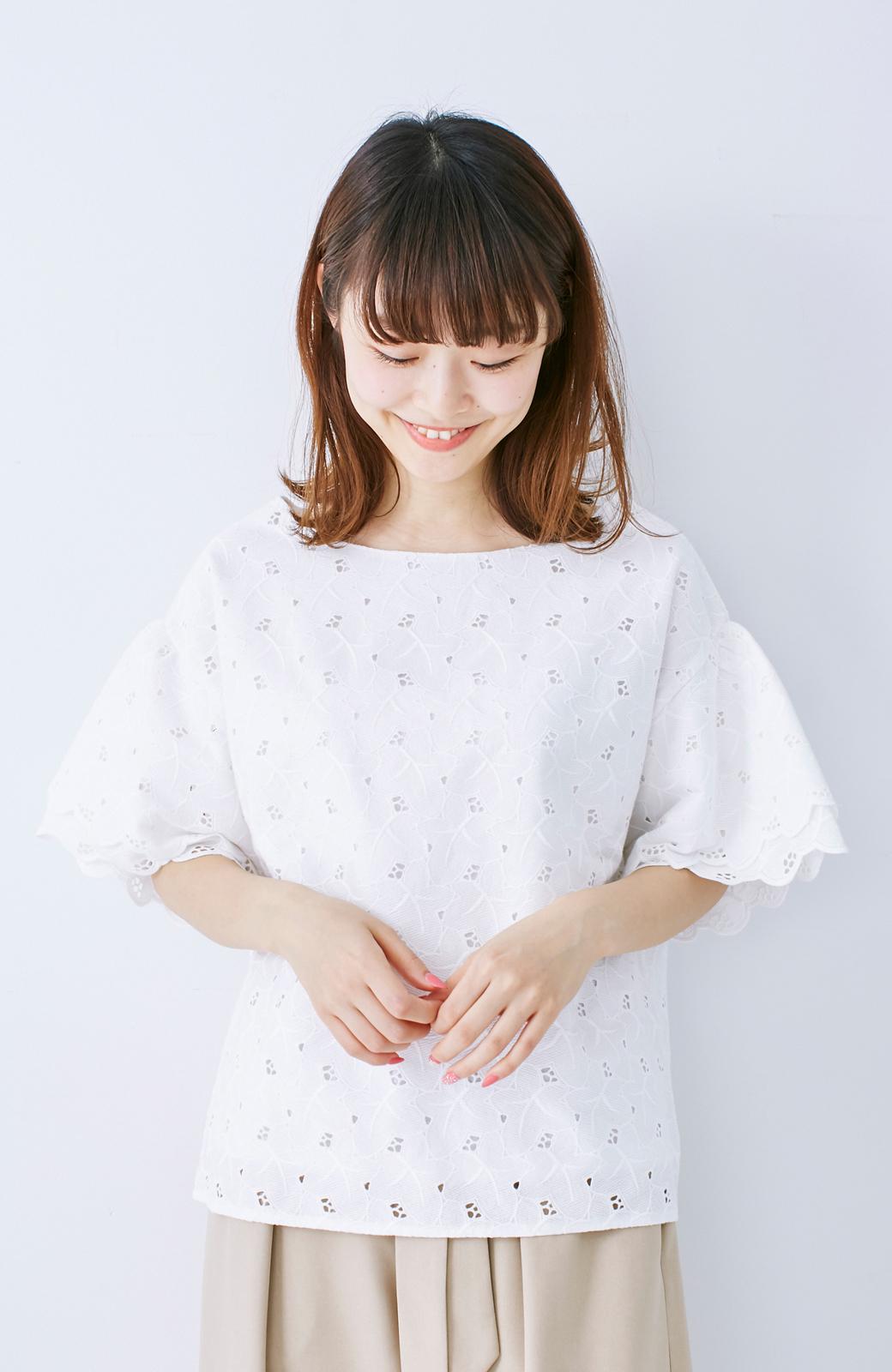 エムトロワ Tシャツ感覚で着られる フラワーレースのティアードスリーブトップス <ホワイト>の商品写真8