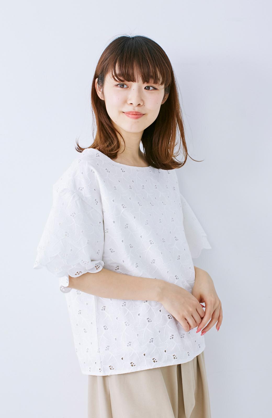 エムトロワ Tシャツ感覚で着られる フラワーレースのティアードスリーブトップス <ホワイト>の商品写真9