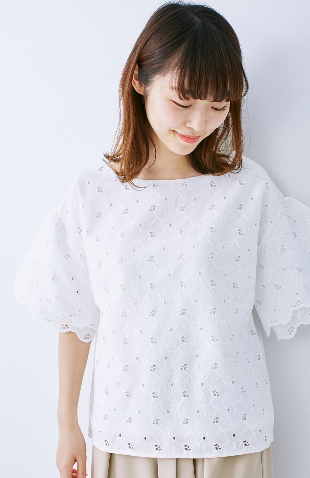 エムトロワ Tシャツ感覚で着られる フラワーレースのティアードスリーブトップス <ホワイト>の商品写真12