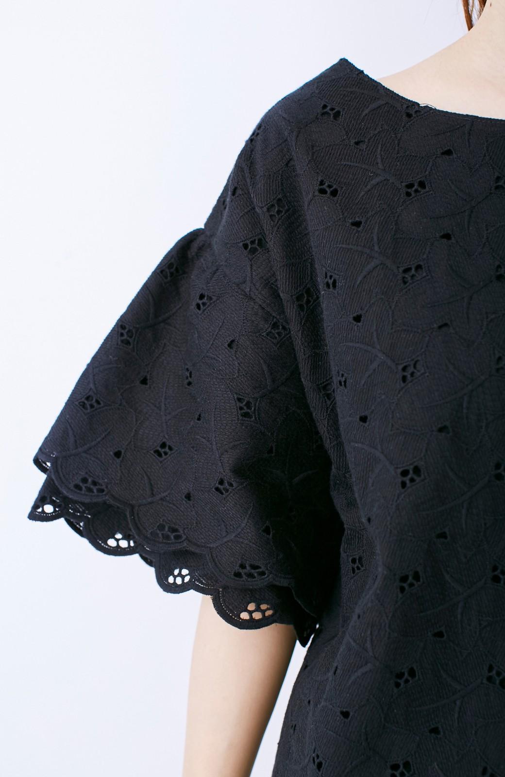 エムトロワ Tシャツ感覚で着られる フラワーレースのティアードスリーブトップス <ブラック>の商品写真4