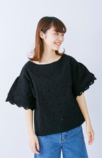 エムトロワ Tシャツ感覚で着られる フラワーレースのティアードスリーブトップス <ブラック>の商品写真
