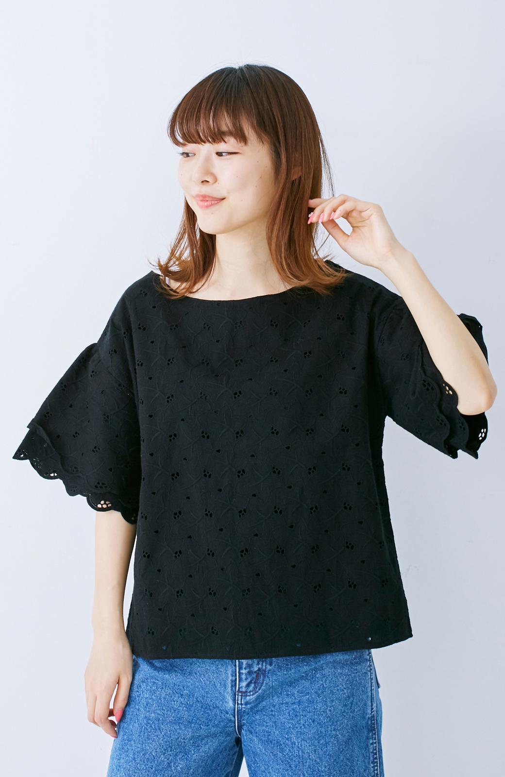 エムトロワ Tシャツ感覚で着られる フラワーレースのティアードスリーブトップス <ブラック>の商品写真6