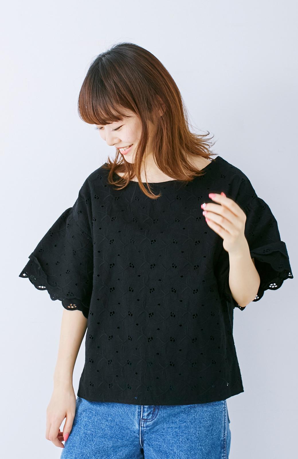 エムトロワ Tシャツ感覚で着られる フラワーレースのティアードスリーブトップス <ブラック>の商品写真7