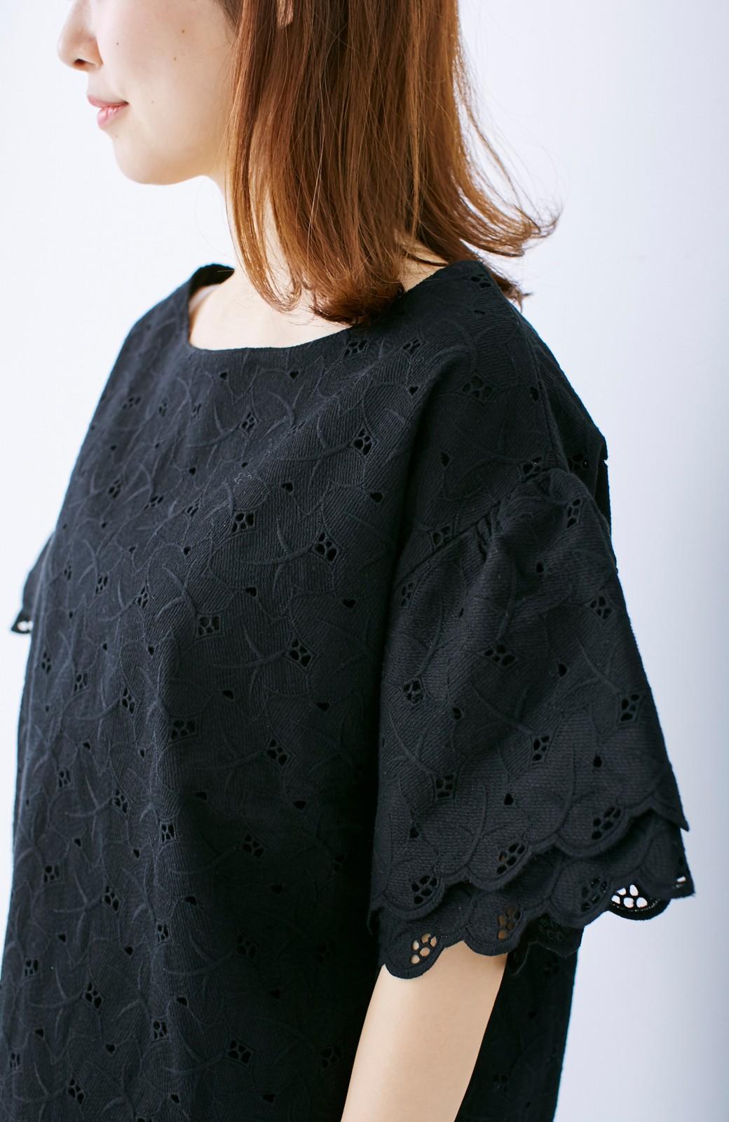 エムトロワ Tシャツ感覚で着られる フラワーレースのティアードスリーブトップス <ブラック>の商品写真10