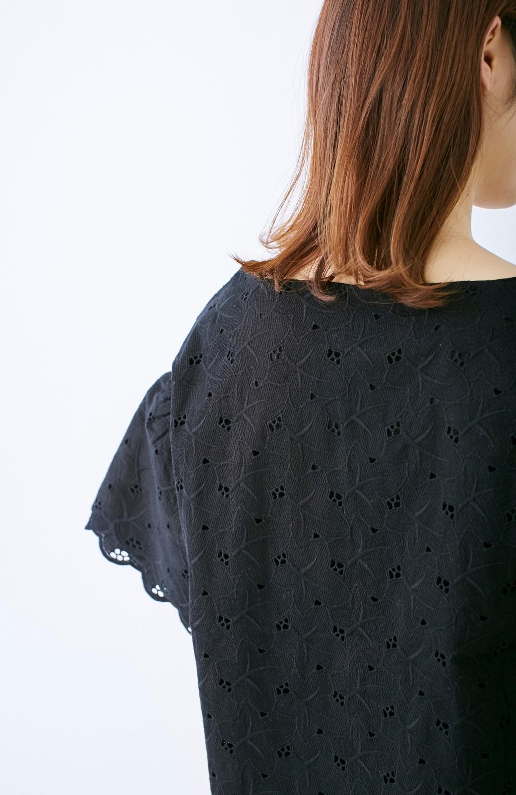 エムトロワ Tシャツ感覚で着られる フラワーレースのティアードスリーブトップス <ブラック>の商品写真11