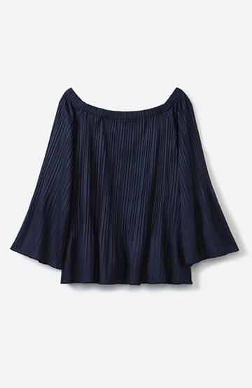 エムトロワ ひらひら揺れ袖の女っぽプリーツオフショルダートップス <ネイビー>の商品写真