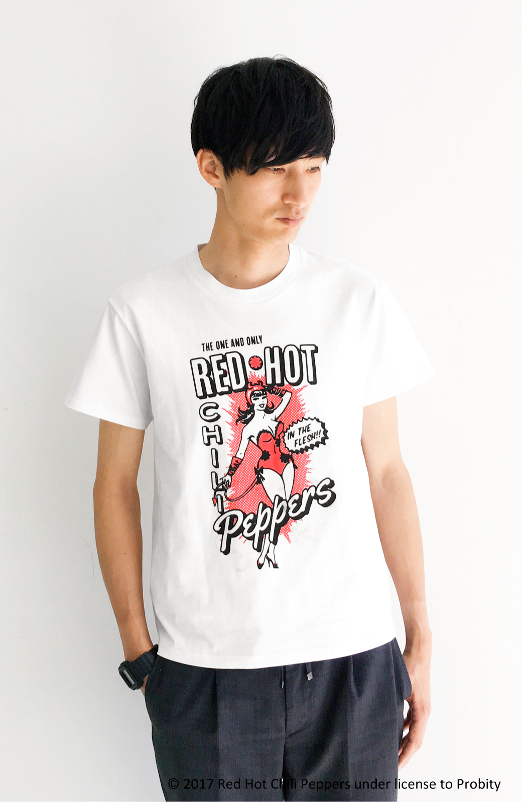 haco! PBP オーガニックコットン妄想ロックフェスTシャツ RED HOT CHILI PEPPERS (メンズ) <ホワイト>の商品写真1
