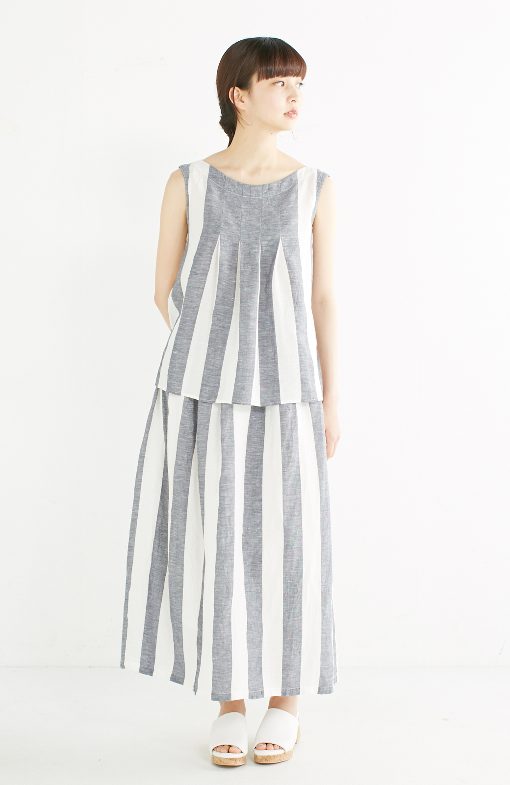 haco! てとひとて miho umezawa ストライプツーピースドレス <ホワイト×ブルー>の商品写真1