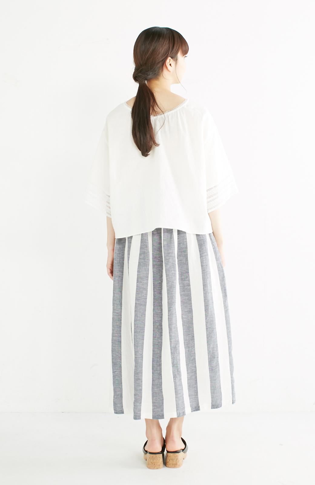 haco! てとひとて miho umezawa ストライプツーピースドレス <ホワイト×ブルー>の商品写真8