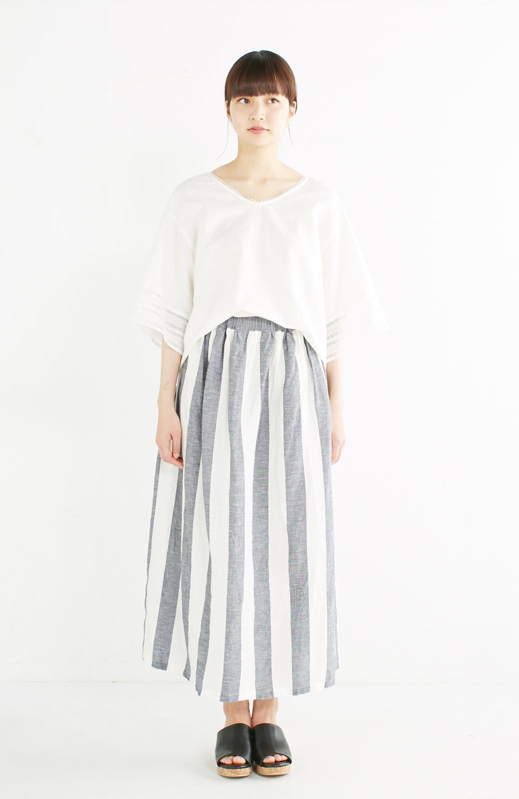 haco! てとひとて miho umezawa ストライプツーピースドレス <ホワイト×ブルー>の商品写真2