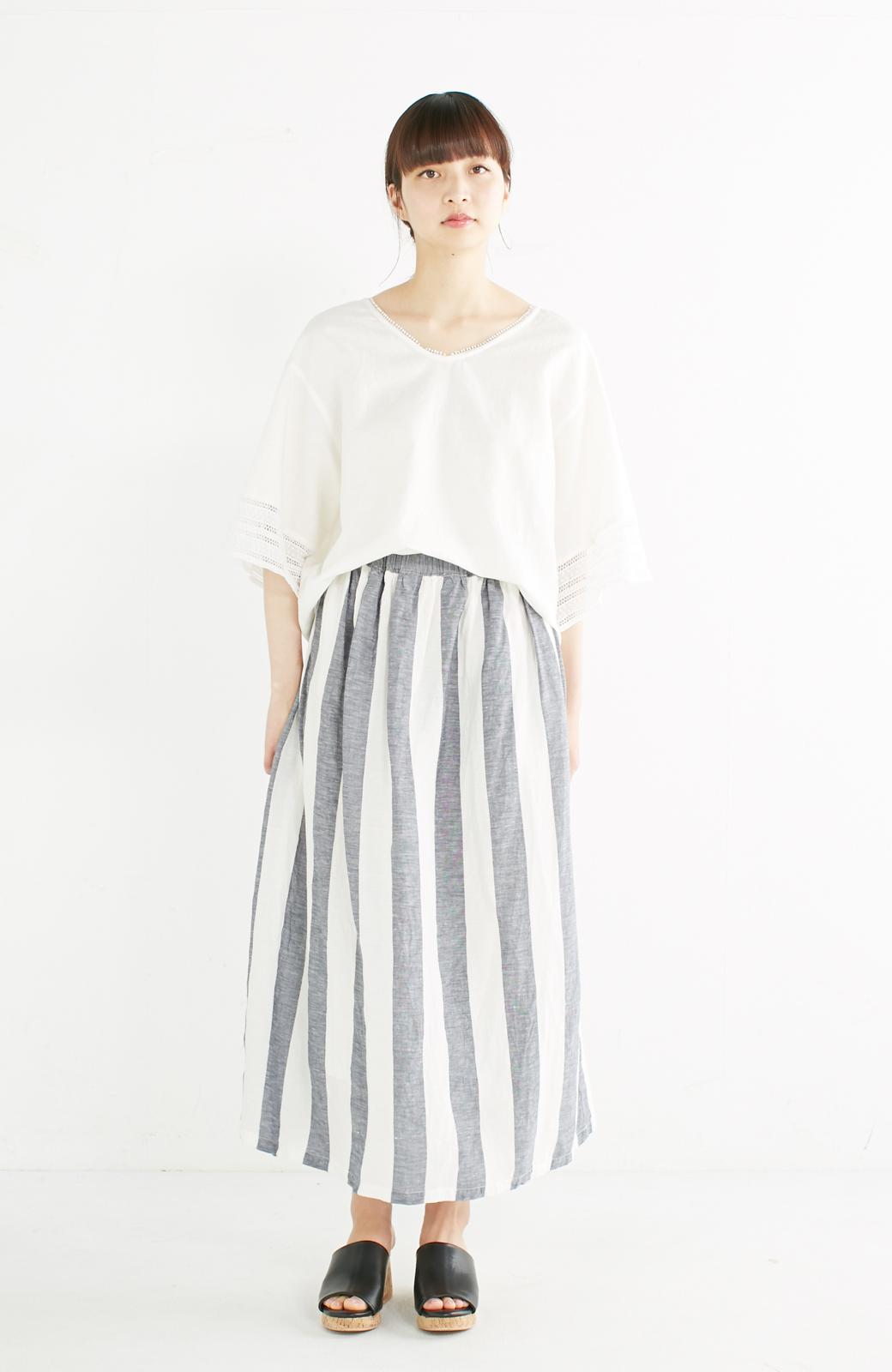 haco! てとひとて miho umezawa ストライプツーピースドレス <ホワイト×ブルー>の商品写真3