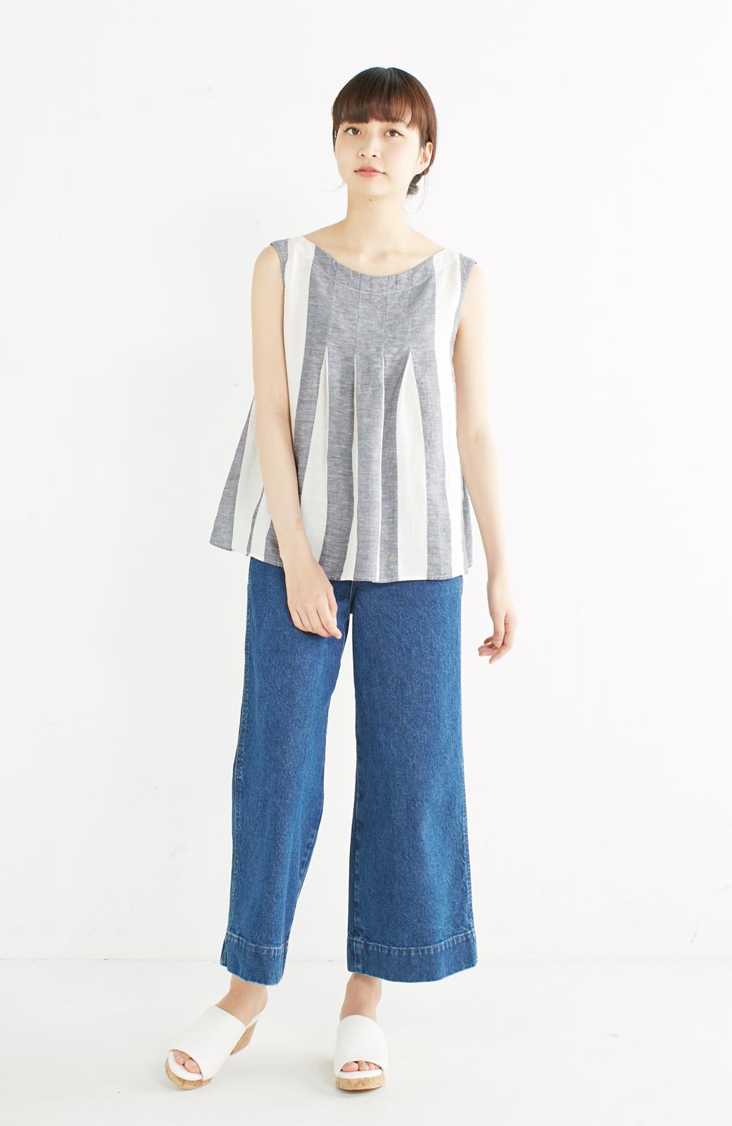 haco! てとひとて miho umezawa ストライプツーピースドレス <ホワイト×ブルー>の商品写真4