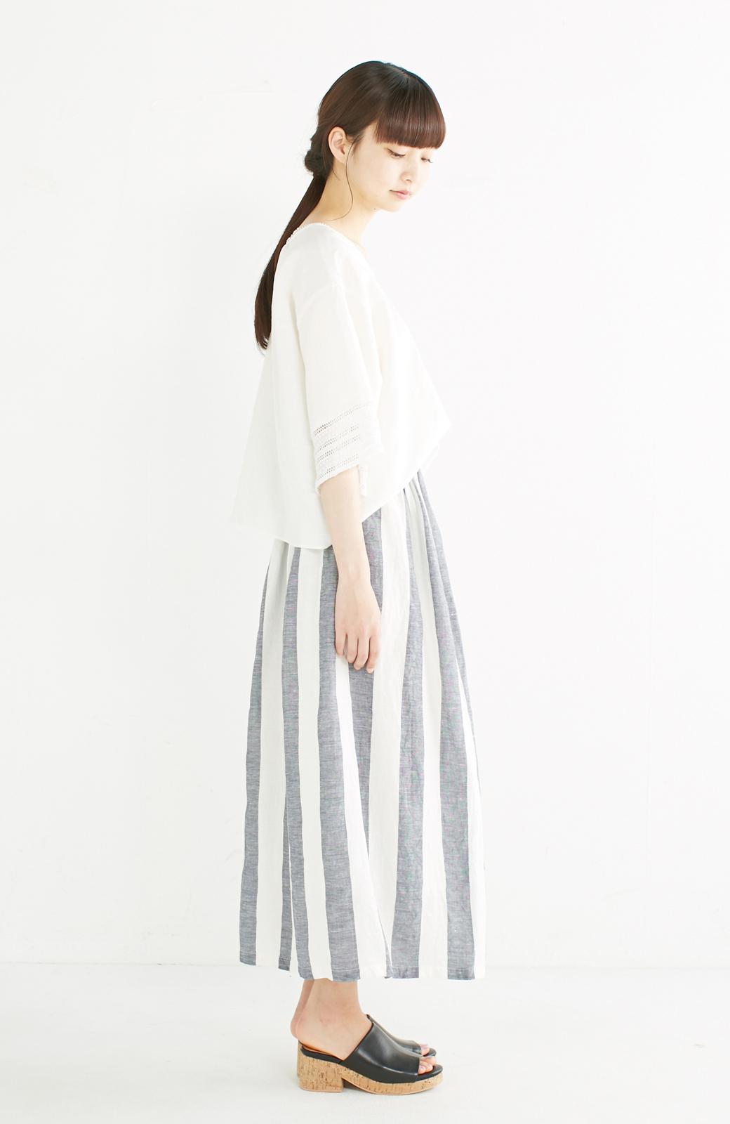 haco! てとひとて miho umezawa ストライプツーピースドレス <ホワイト×ブルー>の商品写真6