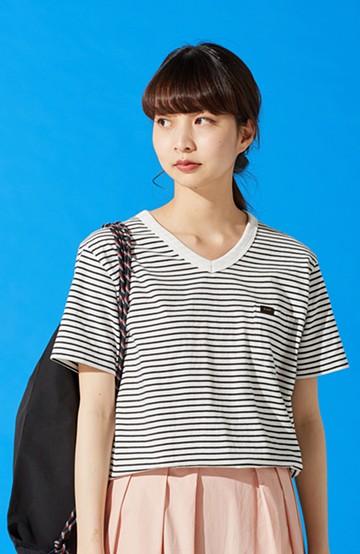 haco! Lee パック入りプチポケットVネックTシャツ <ホワイト×ブラック>の商品写真